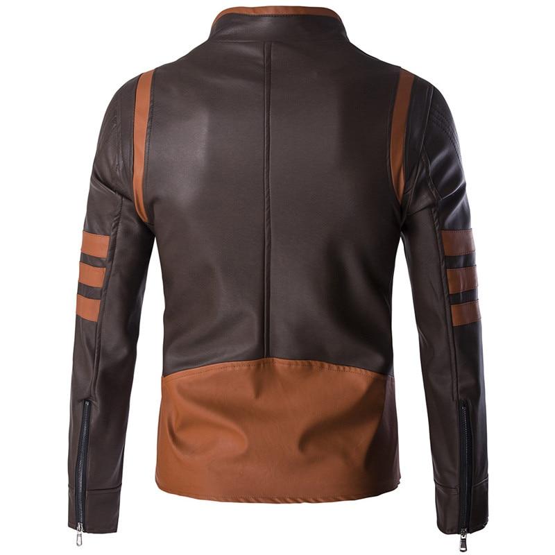 High-end brand men's zipper leather jacket Wolverine casual PU leather locomotive coat Logan bomber jacket slim coat size M-5XL 4