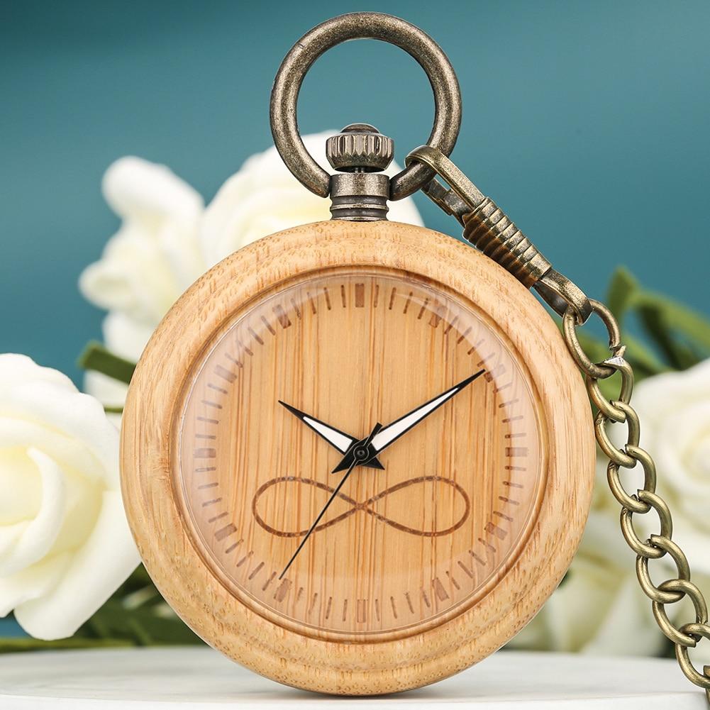 Bronze Infinite Mathematical Symbol Dial Quartz Pocket Watch Men Women Bamboo Pocket Watches Alloy Pendant Chain