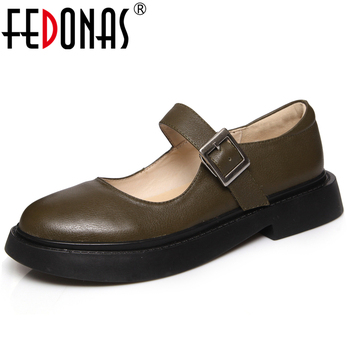 FEDONAS Spring New Concise Retro Casual Women Cow Leather Mary Janes Shoes Round Toe Buckle Strap Square Toe Shallow Shoes Woman