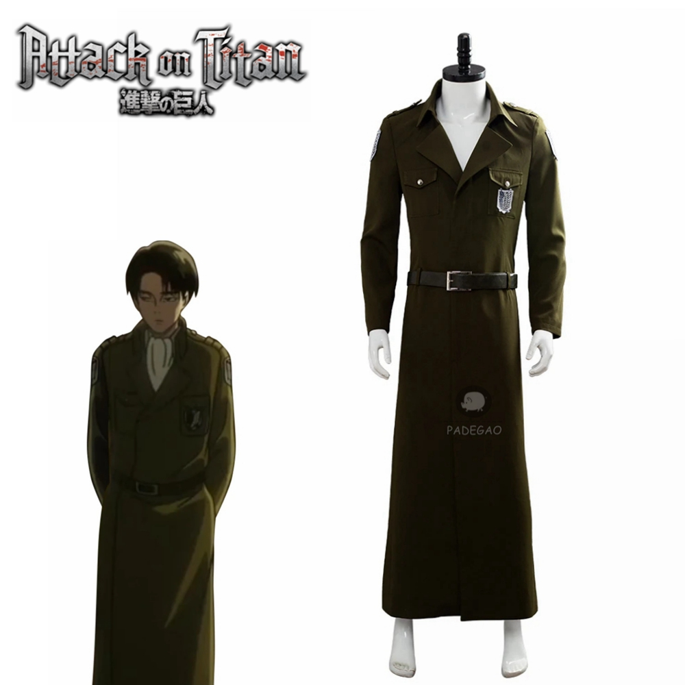 Attack on Titan Season 3 Eren Jaeger Cosplay Costume Scouting Legion Soldier Officer Trench Coat Halloween Carnival Costume