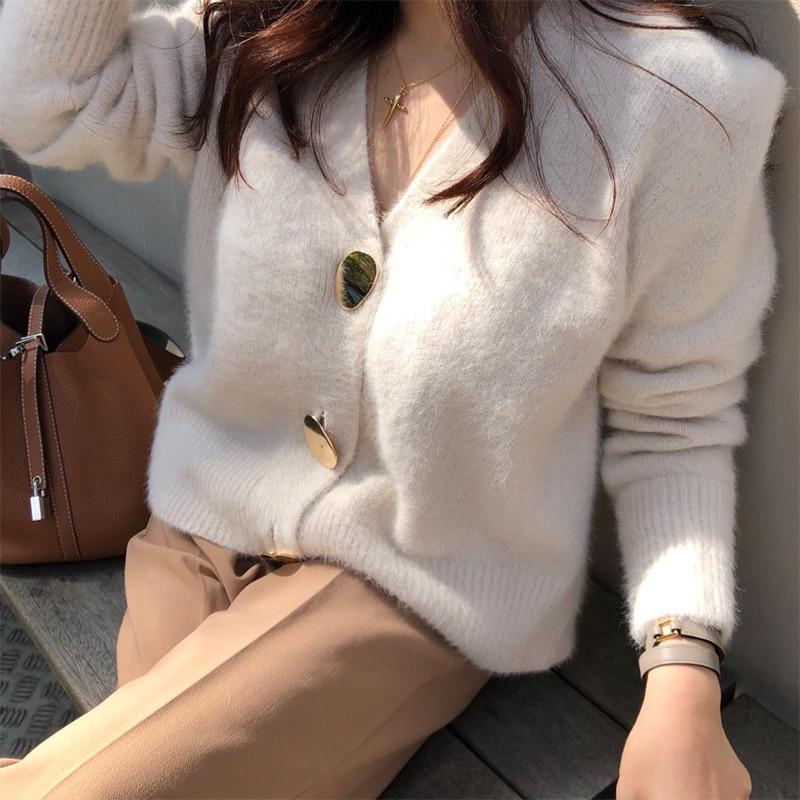 FMFSSOM Golden Shiny Button Single Breasted Woolen Women Cardigans Sweater Casual Female Warm Elegant Autumn Winter