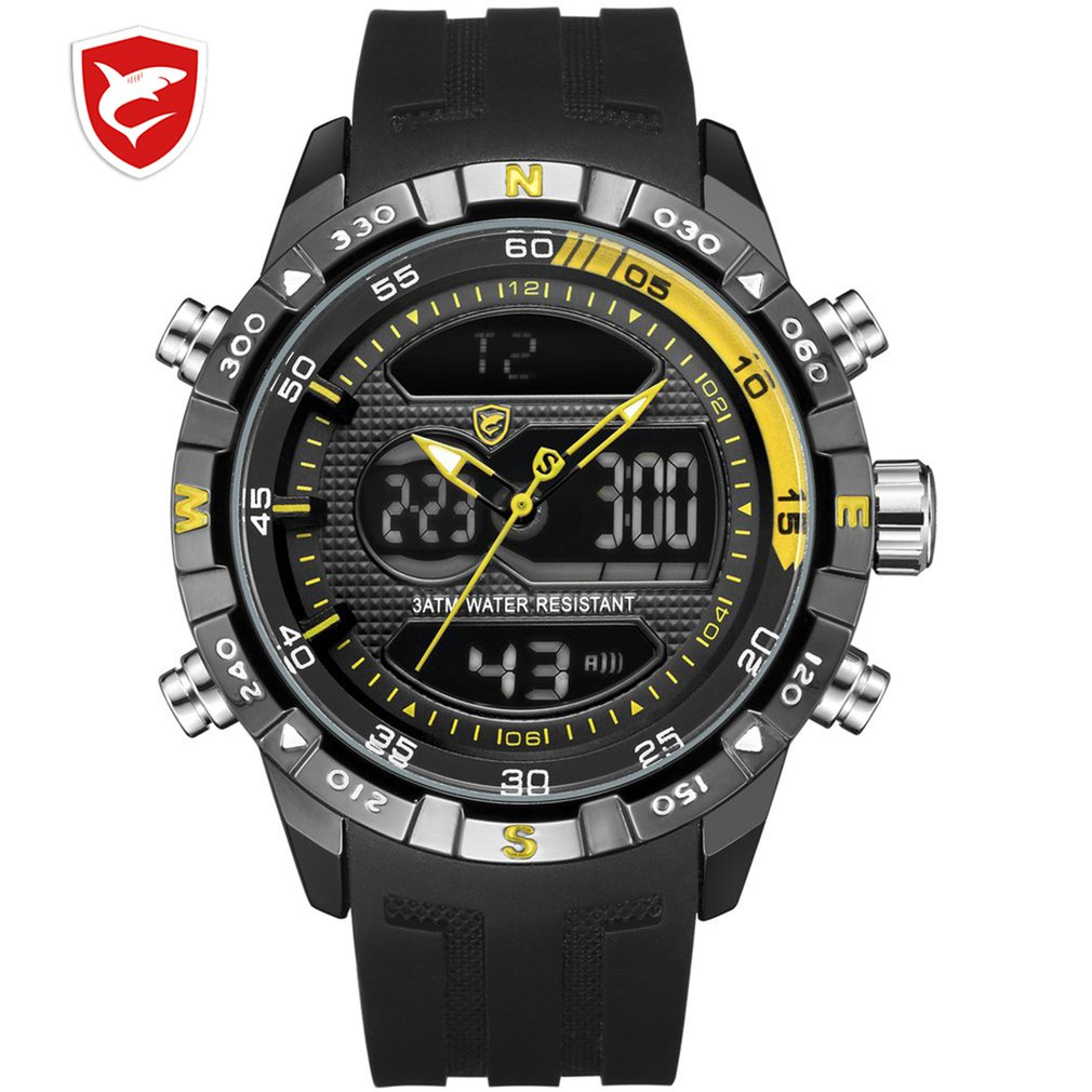Hooktooth SHARK Sport Watch for Men Double Movement Chronograph Alarm LCD Male Clock 3ATM Water Resistant Black Stopwatch /SH596|Sports Watches| |  -