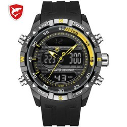 Hooktooth SHARK Sport Watch for Men Double Movement Chronograph Alarm LCD Male Clock 3ATM Water Resistant Black Stopwatch /SH596
