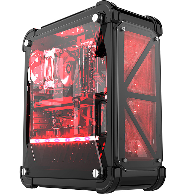 46*21*54.5cm Gaming PC Case with 4 fans Acrylic Full Transparent ATX Vertical Water Cooling Chassis gamer gabinete computador 1