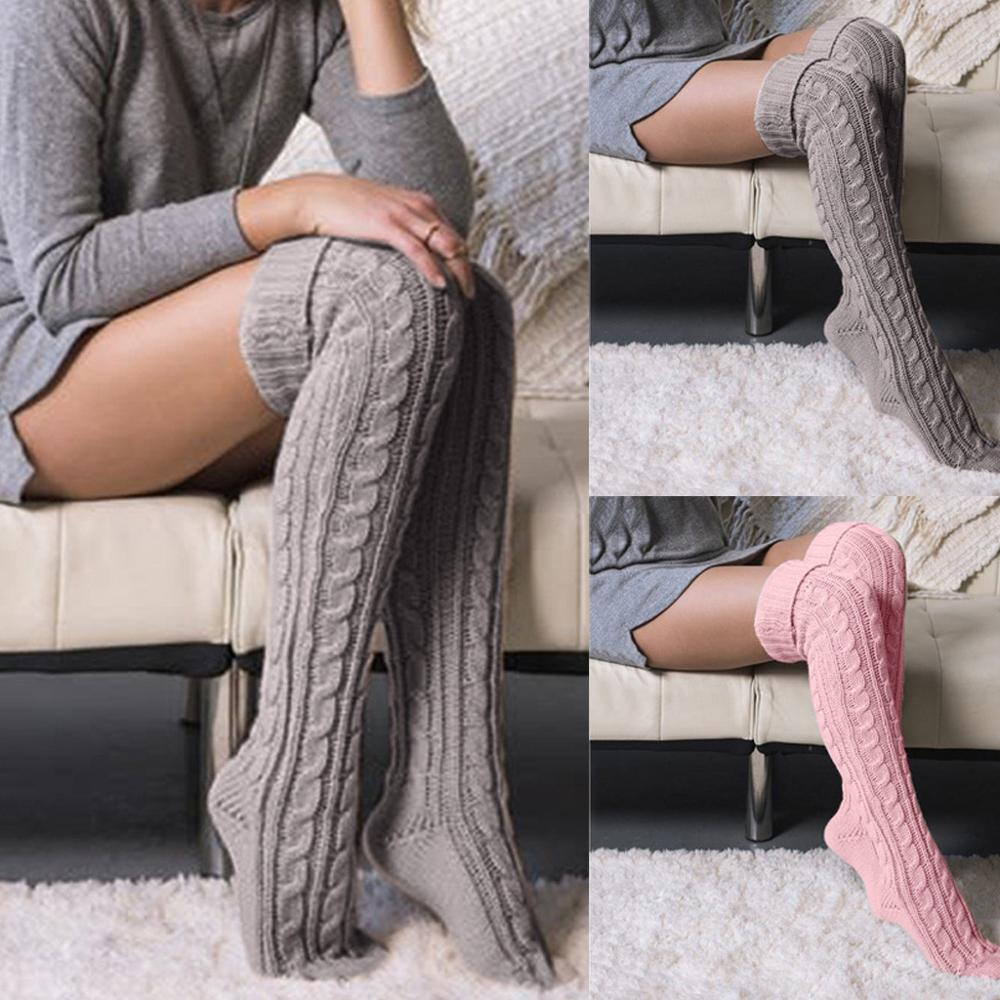 Socks Women Winter Thigh High OVER The Knee Socks Long Cotton Stockings Warm Hot Soft Solid Wool Cotton Skarpetki Dropshipping@