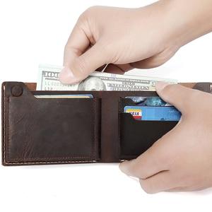 Image 2 - VASCHY หนังกระเป๋าสตางค์กระเป๋าสตางค์ VINTAGE Bifold Slimfold พร้อมช่องใส่การ์ด 6 ช่อง Cowhide หนังกระเป๋าสตางค์สำหรับบัตรเครดิต