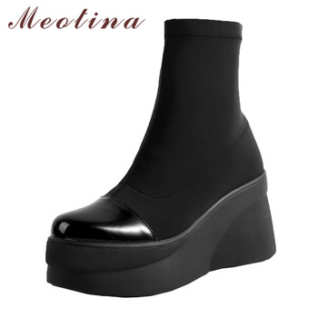 Meotina Winter Ankle Boots Women Genuine Leather Platform Wedge High Heel Short Boots Round Toe Shoes Lady Autumn New Size 34-39