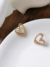 New Fashion Elegant Lovely Double Layer Diamante Heart Stud Earrings 2457