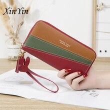 Fashion zipper long splicing contrast wallet women purses tassel fashion coin purse cute ladies phone wallets card holders цена