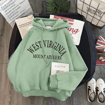 Damska zimowa Plus aksamitna gruba bluza z kapturem sweter z napisem Harajuku luźny szalony z długimi rękawami topy w koreańskim stylu bluza z kapturem tanie i dobre opinie YANQINGHUAN POLIESTER spandex mieszanka bawełny CN (pochodzenie) Na wiosnę jesień Bluzy z kapturem REGULAR Pełne Polar