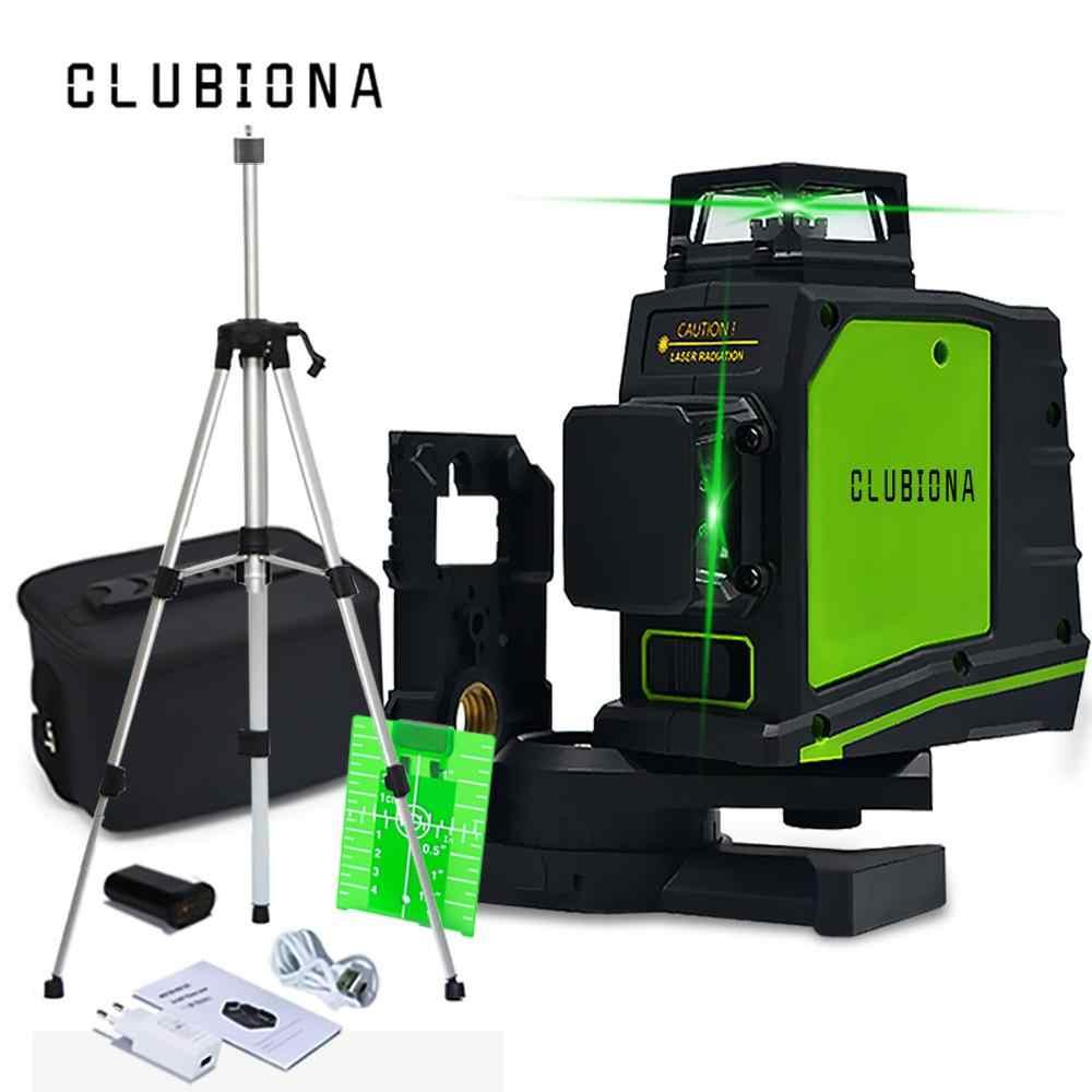 Clubiona CE belgeli 3D kendini tesviye lazer seviyesi 360 derece alman marka lazer diyot süper güçlü yeşil lazer hattı