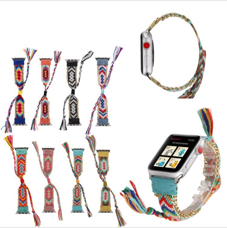Apple IWatch43 S Ethnic-Style Watch Band Applicable AppleWatch Weaving Yarn Wrist Strap 44 Mm Watch Strap