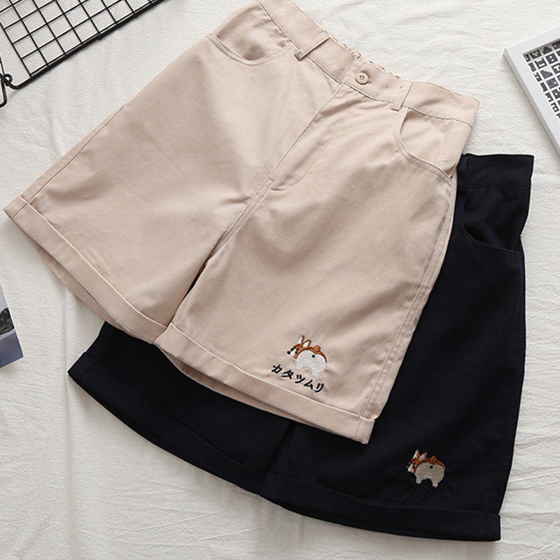 Summer Kawaii Shorts Women Bottoms Japanese Cute Cartoon Dog Pattern Student Wide Leg Shorts Teen Loose Casual High Waist Short