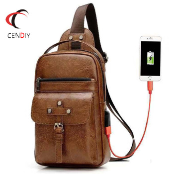 Brand Male Chest Bag Crossbody Bags for Men USB Charging Chest Pack Travel Business Waterproof Pu Leather Messenger Shoulder Bag promotions new arrived men s chest pack casual shoulder pu leather crossbody bags travel messenger bag with usb interface