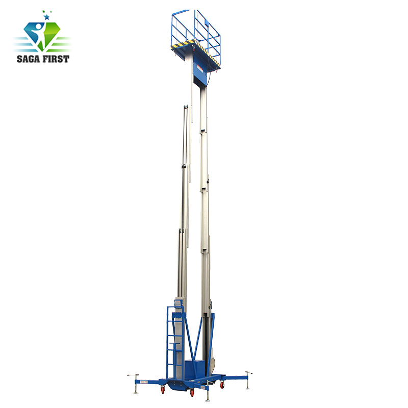 6m To 14m Aerial Dual Mast Aluminum Lift  Table Platform Factory