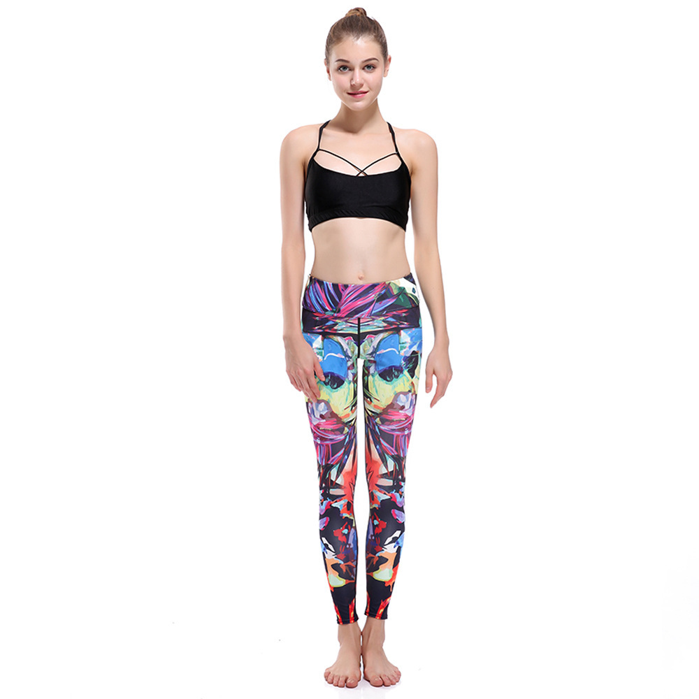 Tropical Adventure Slim Hip Raising Exercise Ventilation Super Bomb Speed Dry Nine Points Lady Pants Leggings