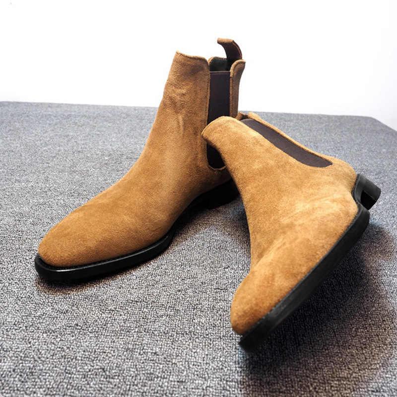 ZYYZYM Mannen Chelsea Laarzen Lente Herfst Suede Hoge Hulp Klassieke Stijl Mode Toevallige Laarzen Mannen Schoenen Botas Hombre Grote size39-48