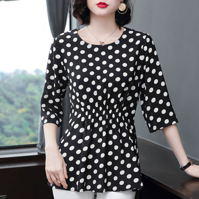 Women Spring Summer Style Chiffon Blouses Shirts Lady Casual Half Sleeve O-Neck Polka Dot Printed Blusas Tops DD8800 1