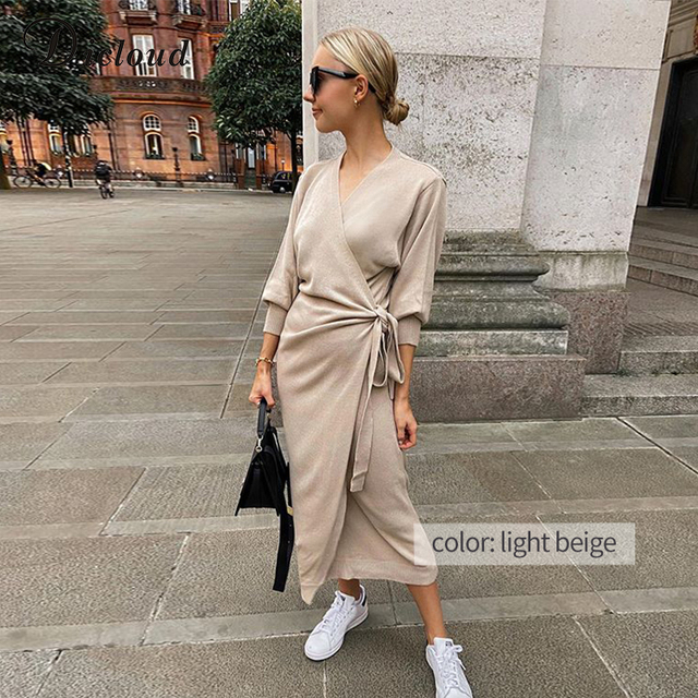 Knitted Wrap Dress-robe 2