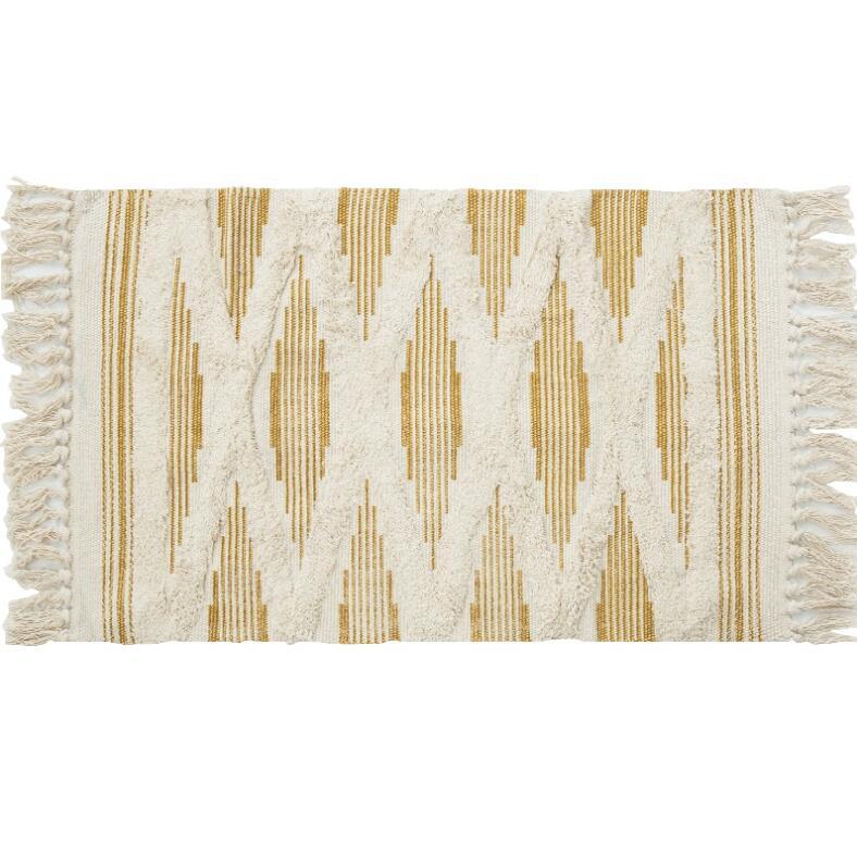 Géométrique rétro tapis coton lin canapé salon chambre à coucher artisanal glands tapis Table basse coureur Jacquard tapis de sol - 4