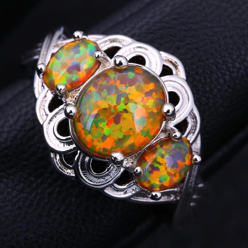 Anillos de moda superpuestos de Color plateado de alta calidad para mujer, anillo de joyas de ópalo de fuego marrón, tamaño 5 6 7 8 9 R503