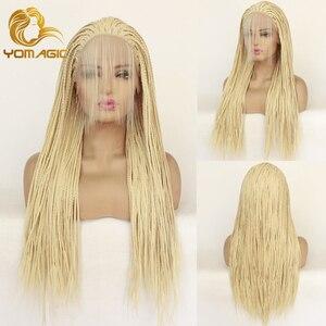 Yomagic cabelo loiro cor trançado caixa tranças cabelo sintético peruca dianteira do laço 613 cor cabelo trançado peruca com cabelo do bebê para mulher