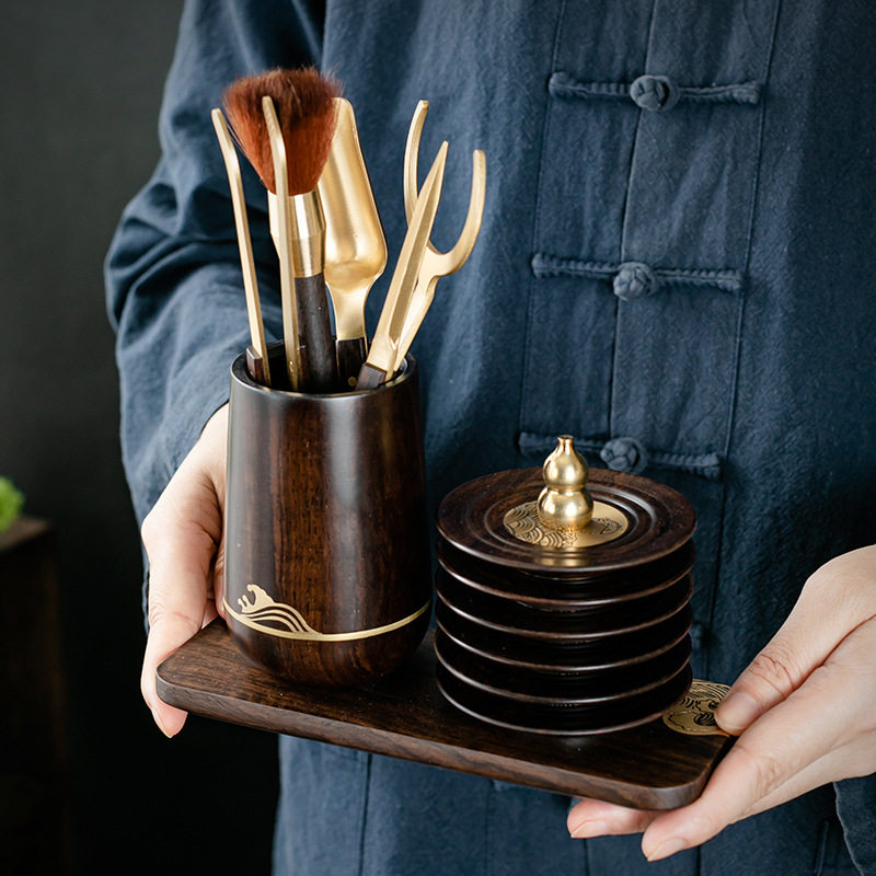 Tea Ceremony Six Items Solid Ebony Set Kung Fu Tea Utensils Stainless Steel Tea Clip Pen Holder Teacup Mat Tea Strainer Coasters