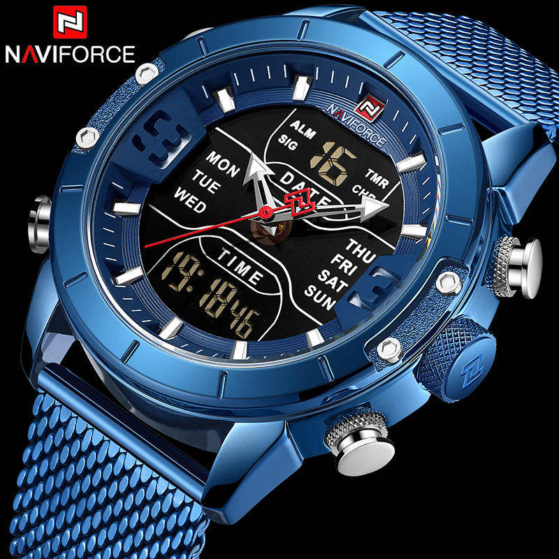 Naviforce Top Brends Men Sport Watch Luxury Wristwatch Mens Zegarek Jam Tangan Anti Air Pria Relogio Masculino