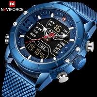 Naviforce Watch Men Top Brand Luxury Army Military Stainless Steel Mesh Mens Wristwatch Waterproof Digital Quartz Sports Watches