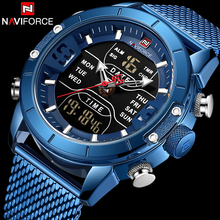 Naviforce Watch Men Top Brand Luxury Army Military Stainless Steel Mesh Mens Wristwatch Waterproof Digital Quartz Sports Watches benyar mens watches military army brand luxury sports casual waterproof male watch quartz stainless steel man wristwatch xfcs