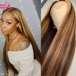 Ombre Honey Blonde Full Lace Human Hair Wigs 360 Lace Frontal Wig Highlight Brown 13X6 Front Closure Indian Remy For Black Women(China)