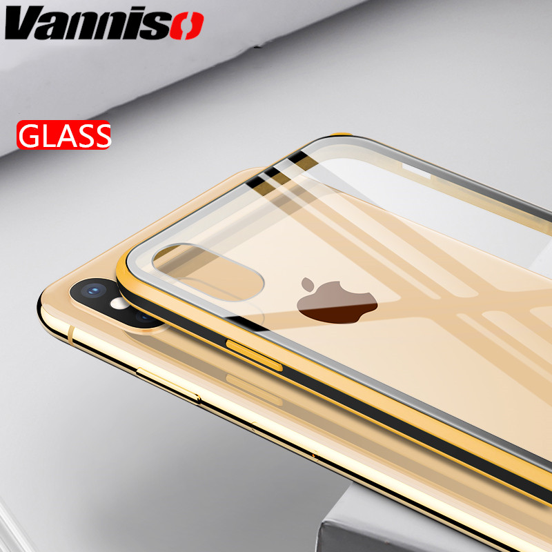 Vanniso Transparent Case For iPhone X 10 XS MAX xr Case PC Tempered Glass phone case For iPhone 7 6 S 6s 8 Plus Cases Silicone in Fitted Cases from Cellphones Telecommunications