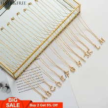 Fever&Free Hot Sale Shiny Gold Hammered Initial Necklace Alphabet A-Z Letter Initials Name For Women Best Gift