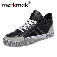 2019 New Plus velvet Men Shoes High top Vulcanized Shoes Men Autumn Casual Shoes Male Footwear Leather Men Sneakers Street Style