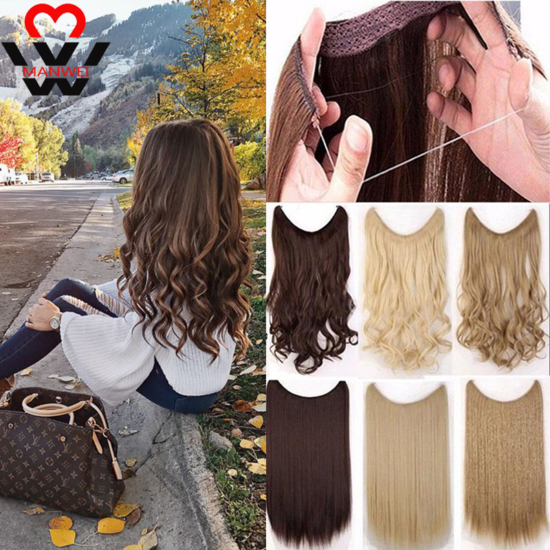 MANWEI Long Blonde Invisible Wire No Clips In Hair Extensions Synthetic Hair  For Women Real Fish Line Hair Extension
