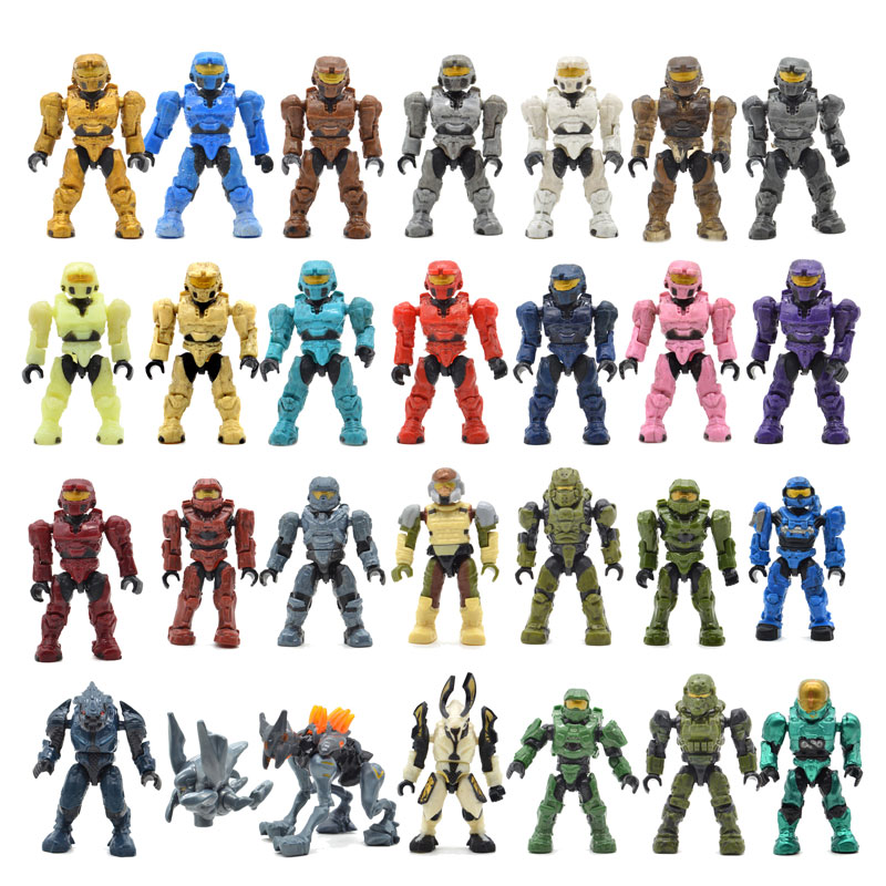 20pcs/lot Warriors Humans Building Blocks Bricks Halo Wars Games Plastic Armors Kids DIY Gifts Toys with Weapons Guns image