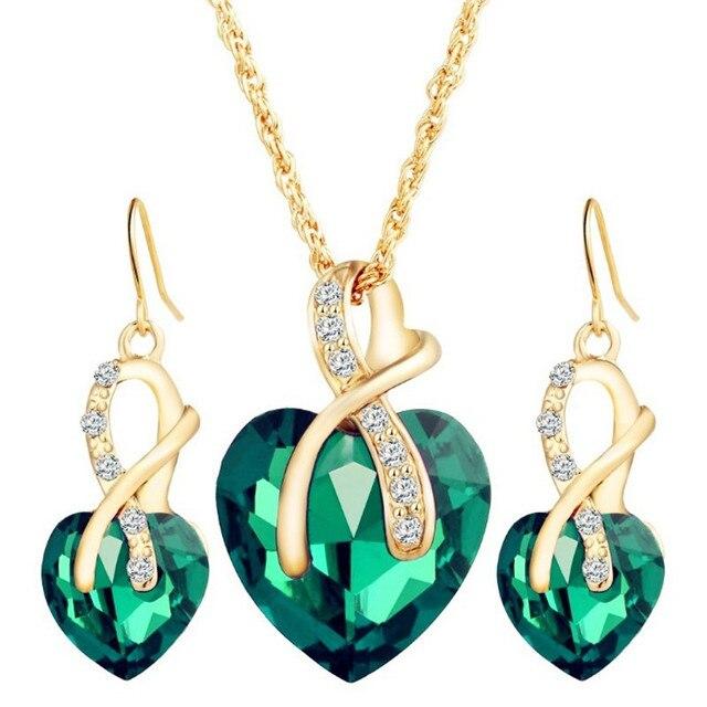Conjunto de joyería de cristal de arcoíris Vintage para mujer, aretes colgantes de Color dorado con abalorio para mujer, corazón amor, collar de cadena de boda Simple 5