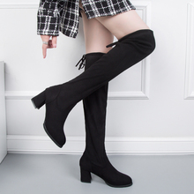 Slip On Over The Knee Boots Women High Heels Sexy 2019 New Fashion Fall Soft Elegant Black