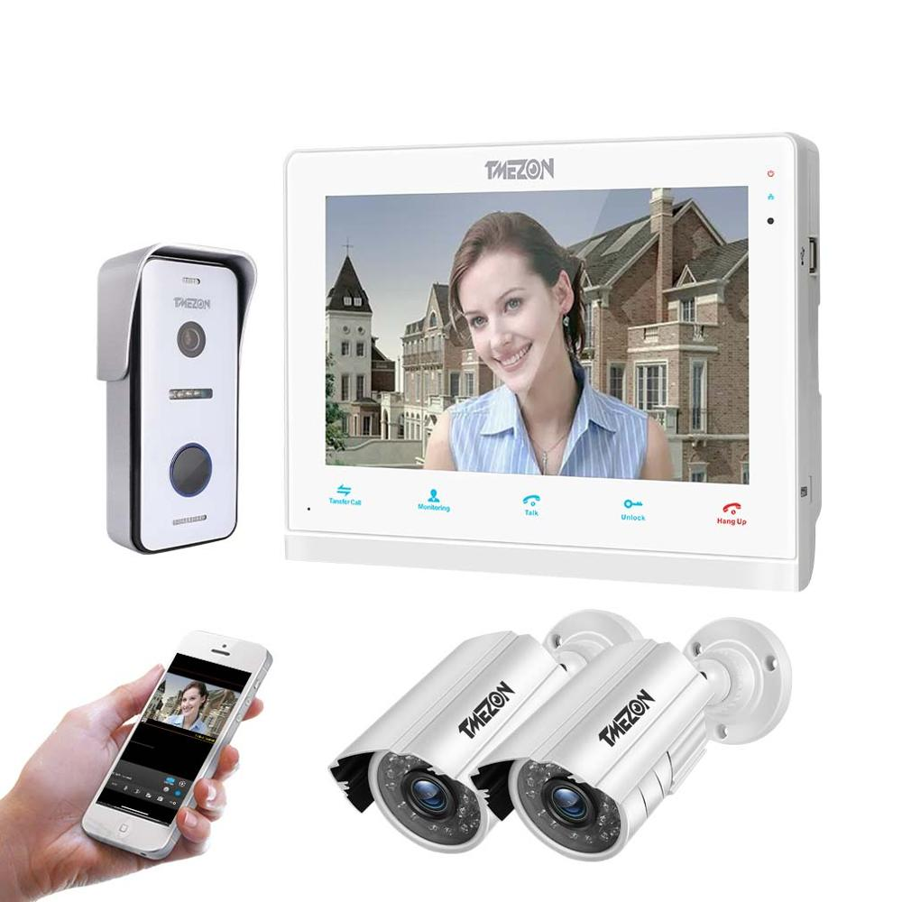 TMEZON 10 Inch Wif Video Door Phone Intercom Doorbell Home Security System Door Speaker Call Panel+7 Inch Monitor +2x960p Camera