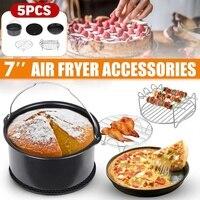 5 teile/satz Air Friteuse Zubehör für Gowise Phillips Cozyna Fit 3 7 5.8QT Kuchen Barrel Pan Rack Matte Kit auf