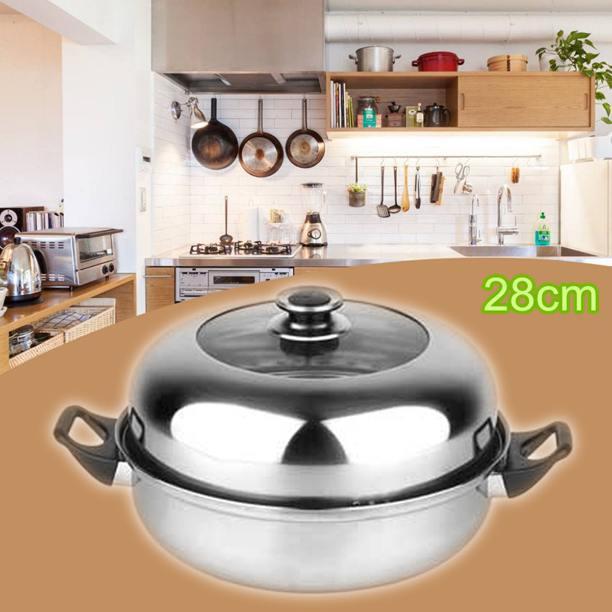 2 Tier Stainless Steel Steamer Gas Stove Induction Compatible Home Kitchen Cooking Cookware Double Boilers 28cm Steam Pot Cooker
