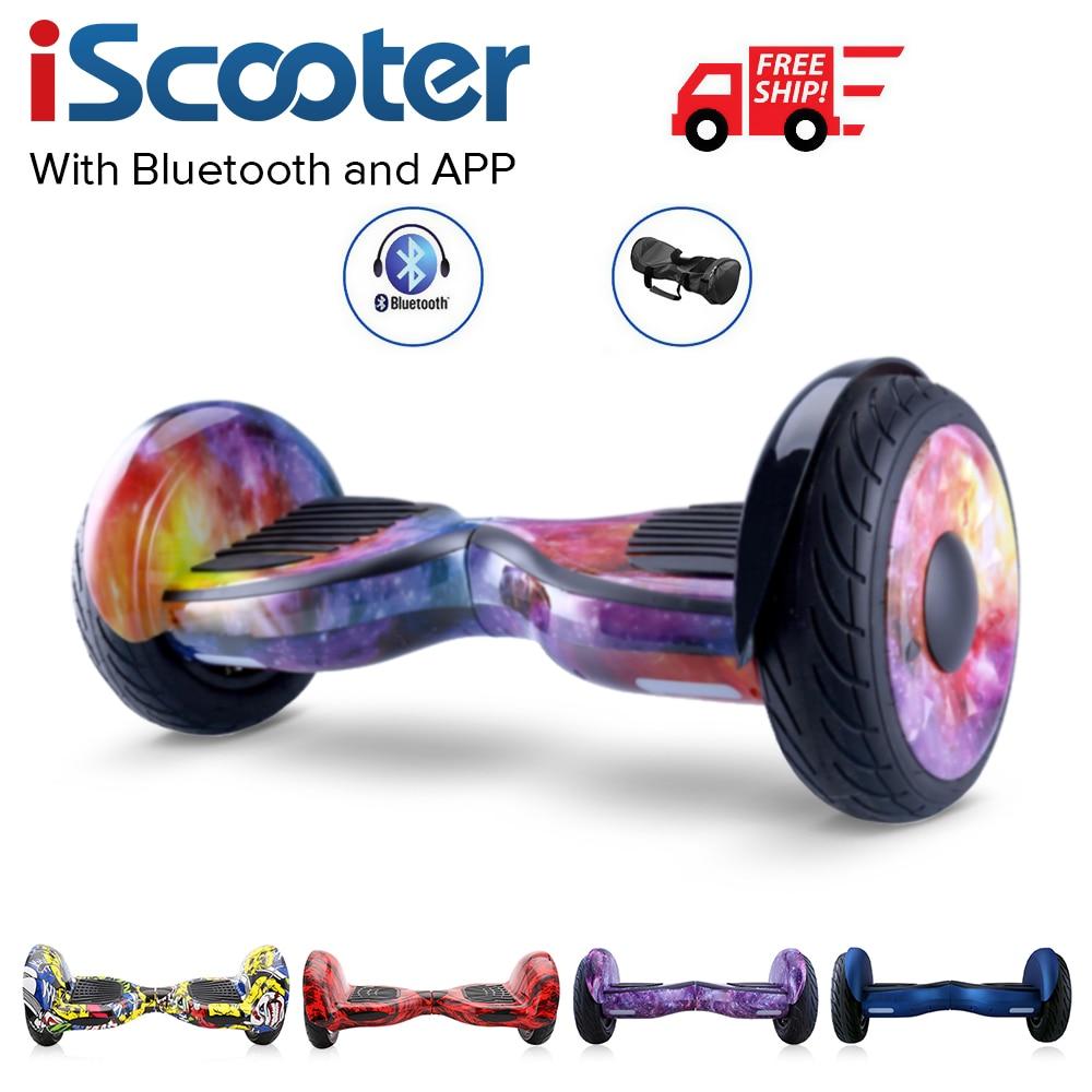 Livraison gratuite Hoverboard 10 pouces deux roues smart auto équilibrage scooter planche à roulettes électrique avec haut-parleurs Bluetooth giroskuter