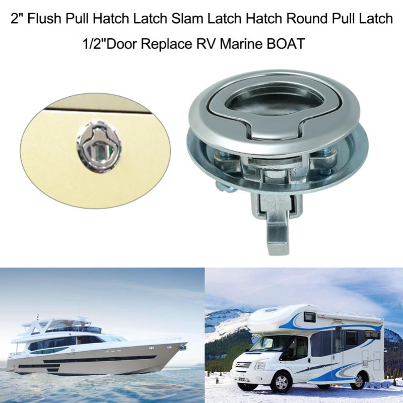 New Camper Car Flush Pull Slam Latch Hatch With Lock 2 Inch Door For RV Marine Boat Deck Hatch Caravan Motor Home Cabinet Drawer