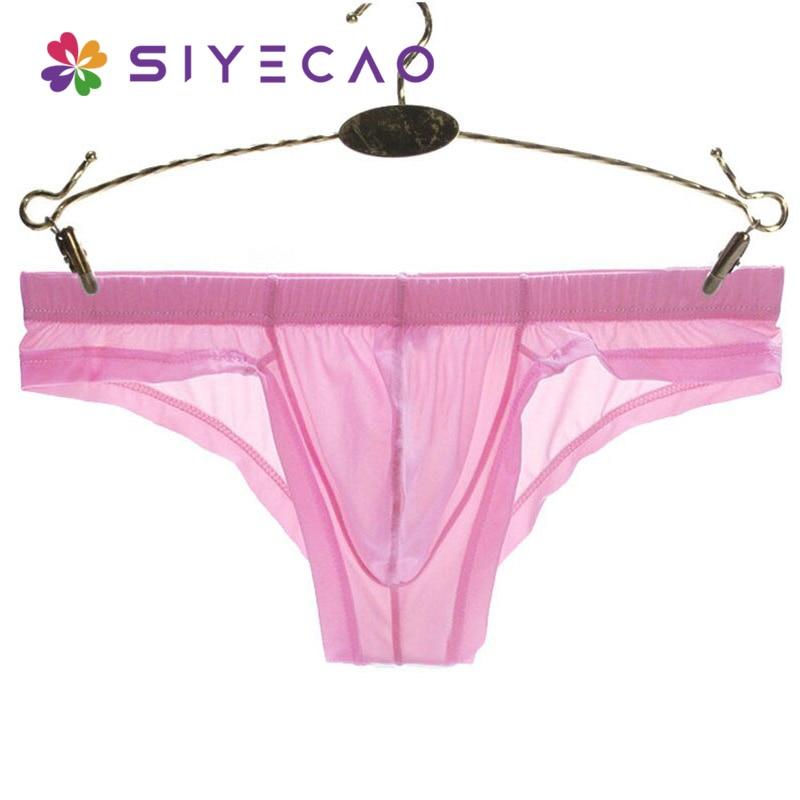 Men's Underwear Transparent Mens Briefs Bulge Sexy Man Bikini Ropa Interior Hombre Ice Silk Low-rise Sheer Underpants Shorts