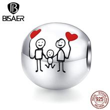 Family Beads BISAER Hot Sale 925 Sterling Silver Sweet Family Photo Beads Charms fit Charm Bracelets DIY Jewelry ECC1339