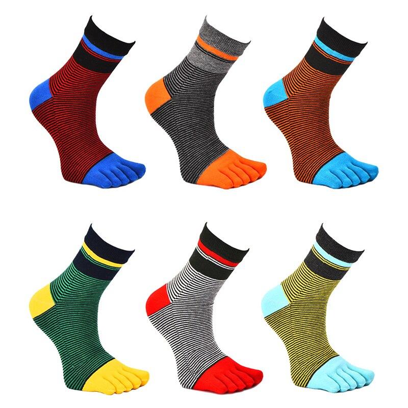 Men's Breathable Sports Striped Five Finger Socks Tube Striped Socks 2019 Spring Autumn Warm Cotton Toe Socks Chaussette Homme