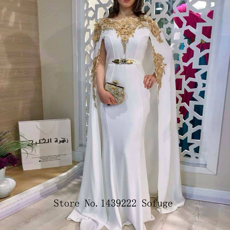 White Satin Moroccan Kaftan Evening Dresses 3D FlowersLace Appliques Women Arabic Muslim Special Occasion Formal Party