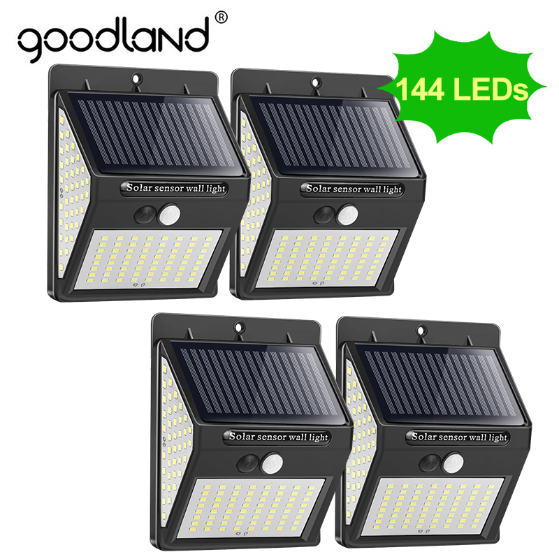 Goodland 144 100 LED Solar Light Outdoor Solar Lamp PIR Motion Sensor Solar Powered Sunlight Street Light For Garden Decoration
