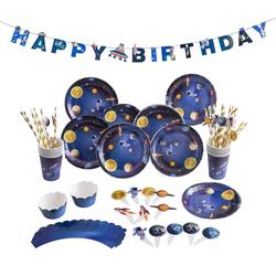 Outer Space Birthday Party Decoration Astronaut Rocket Ship System Theme Party Planet Space Cup Boy Kids Paper Supplies Favors