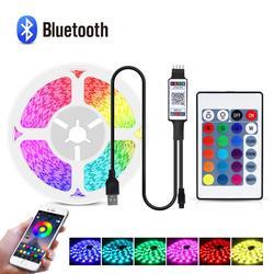 Bluetooth contrôleur RGB LED bande lumière 5050 Diode bande 5V USB néon LED lumières rayure PC TV écran rétro-éclairage chambre décor lampe
